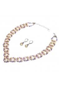 Set bijuterii GANELLI Statement handmade - Colier în V ?i Cercei Chandelier din Howlit si Ametist