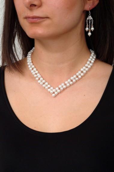 Set bijuterii GANELLI Statement handmade - Colier în V ?i Cercei Chandelier din Perle Mallorca