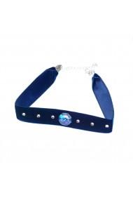 Colier Choker Ganelli cu cristale Swarovski 1 octogon, Albastru