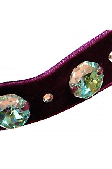 Colier Choker Ganelli cu 3 cristale Swarovski octogon, mov