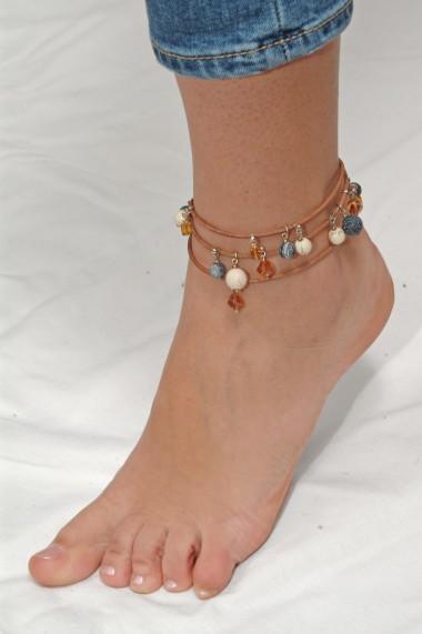 Bratara Ganelli multifunctionala mana, glezna, colier, piele si pietre semipretioase L01(L)