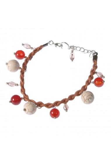 Bratara GANELLI handmade piele naturala impletita si pietre semipretioase Agate, Howlit, Cristal
