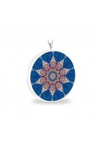 Pandantiv Ganelli Mandale Tibet din ceramica si argint 925 -model 2 (albastru)