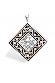 Pandantiv Ganelli din ceramica si argint 925 motive Romanesti din Muntenia - Muscel model 2