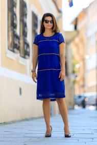 Rochie midi din vascoza albastra perforata Aida
