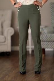 Pantaloni drepti dama Giorgal verde olive stil office