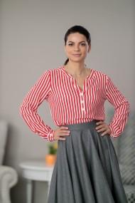Bluza dama, Giorgal, vascoza in dungi alb/rosu, Balencia