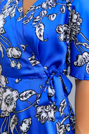 Rochie midi de vara, petrecuta, albastra, Joie