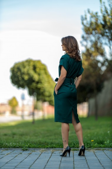 Rochie midi business din stofa verde, Kessia