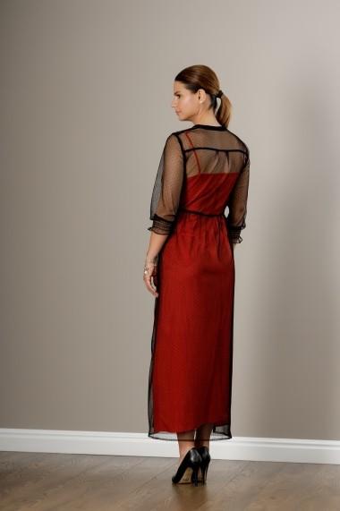 Rochie rosie, lunga cu dantela suprapusa, Liana