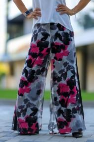 Pantaloni largi palazzo din mix de voaluri, Miras, floral