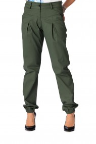 Pantaloni largi verde inchis, cu pliuri, Opria