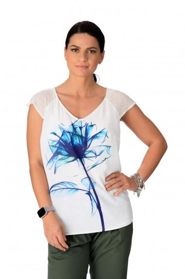 Tricou dama alb cu imprimeu floare albastra, Opria