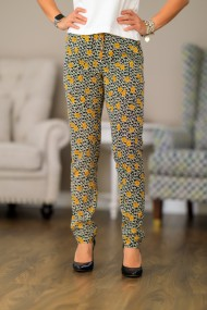 Pantaloni largi dama Giorgal casual imprimeu floral negru si galben