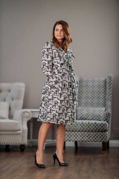 Trench dama, drept, stil office, alb/negru