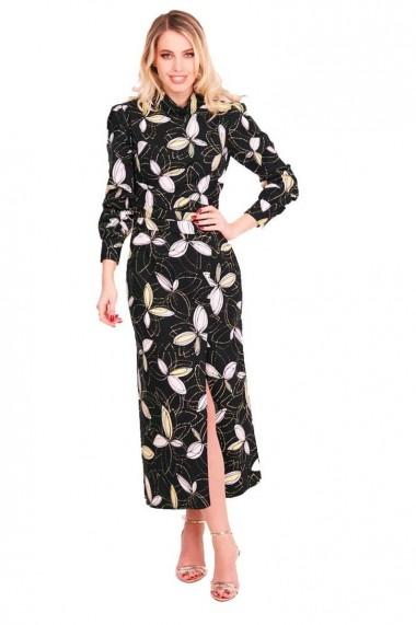 Rochie de zi Grisogono din bumbac negru cu imprimeu floral