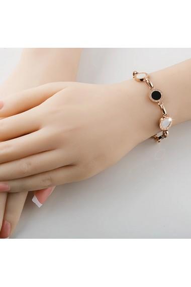 Bratara L&B Jewelry Elegant Love, cifre romane, stainless steel, auriu roz delicat