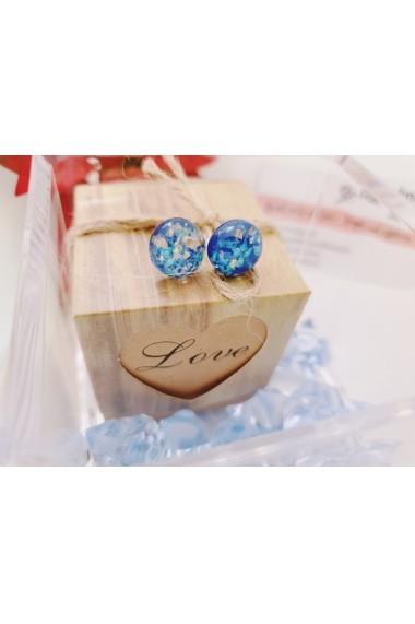 Cercei rasina lucrati manual Handmade with Love rasina albastru