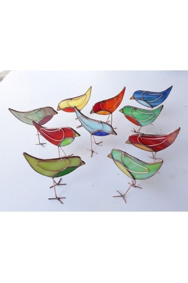 Decoratiune handmade Opaline Crafts pasare vitraliu