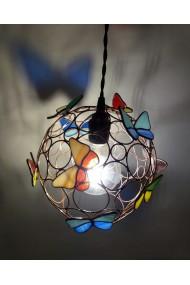 Corp iluminat din cupru si sticla de vitraliu
