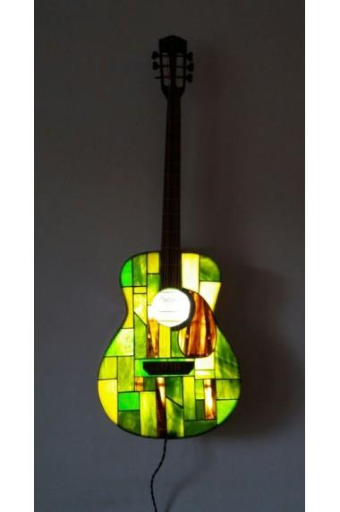 Corp de iluminat forma chitara,decor, sticla de vitraliu Tiffany tehnique, multicolor, Opaline Crafts