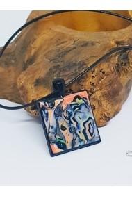 Pandantiv lucrat manual Argila Polimerica Handmade With Love Mokume gane luciu rasina