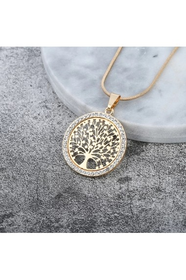 Set Pandantiv si bratara roz auriu copacul vietii elegant Handmade with Love