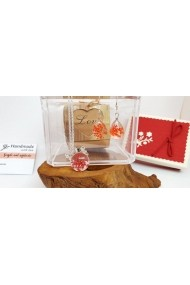 Set Pandantiv si cercei Handmade with Love cu Floare naturala Daucus Carota Orange prinsa in sticla