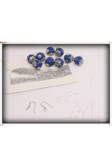 Set pandantiv cercei margele indoneziene si semipretioase lapis lazuli lucrat manual Handmade with Love
