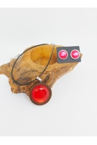 Set pandantiv lemn rasina rosu cercei otel stainless steel Rasina lucrat manual