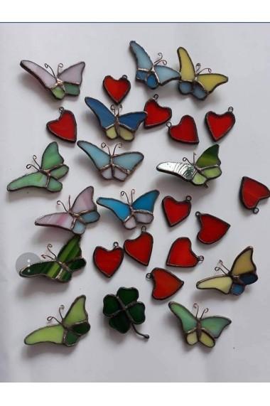 Brosa fluture handmade Opaline Crafts din sticla de vitraliu, multicolor