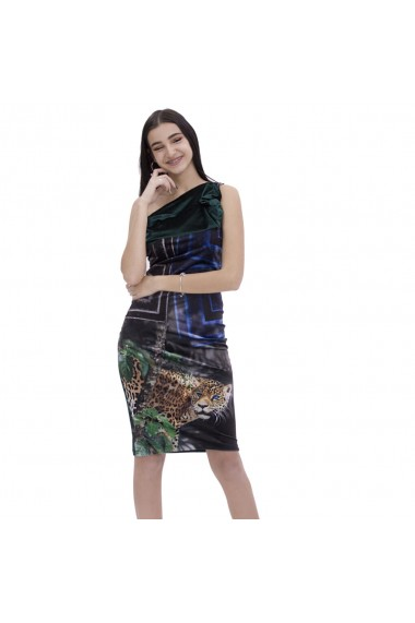 Rochie din catifea cu imprimeu leopard