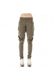 Pantaloni bufanti din satin kaki cu buzunare
