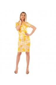 Rochie mulata pe corp cu imprimeu floral galben
