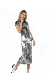 Rochie lunga din catifea argintie animal print