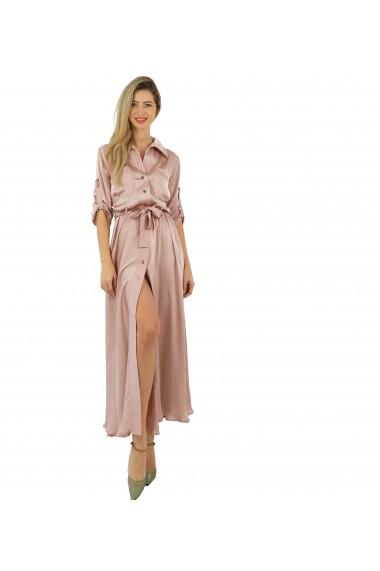 Rochie lunga cu nasturi si cordon roz