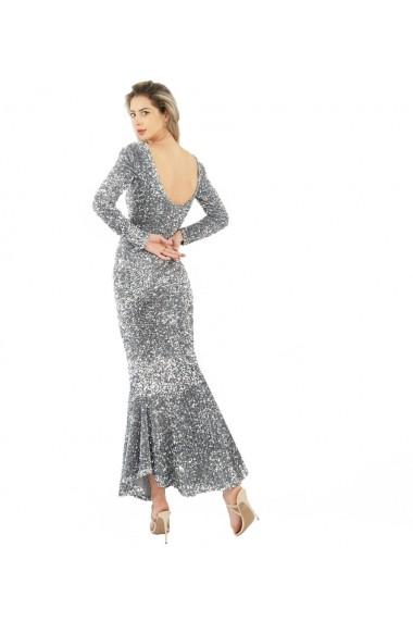 Rochie eleganta lunga din paiete argintii