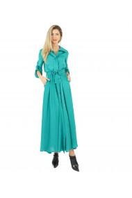 Rochie lunga cu nasturi si cordon aquamarine