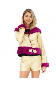 Jacheta scurta din piele aurie cu blana mov