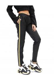 Pantaloni din piele cu banda laterala in contrast