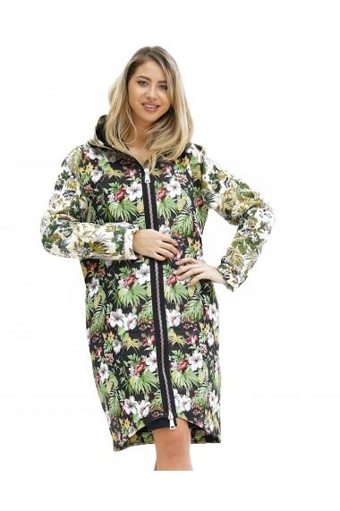 Jacheta lunga cu imprimeu floral