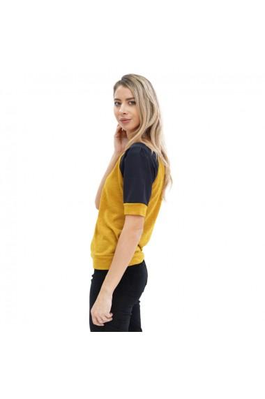 Bluza casual cu maneca scurta galben mustar