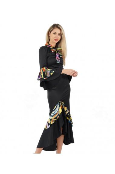 Rochie eleganta cu volane colorate tip flamenco