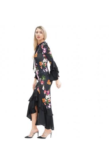 Rochie eleganta cu imprimeu floral si volane tip flamenco