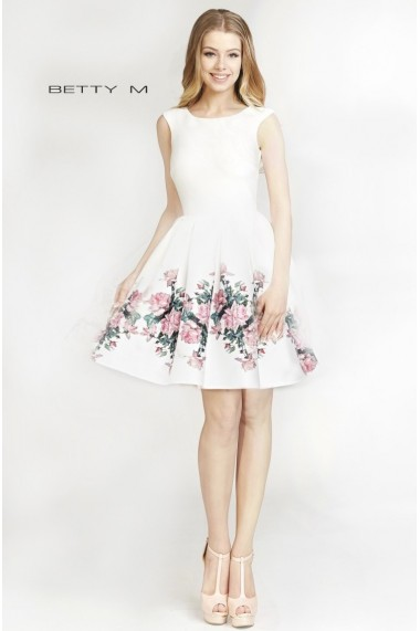 Rochie de seara Betty M Evening Happy Roses Alba
