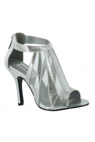 Sandale cu toc Benjamin Walk din piele ecologica, Argintii