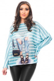 Bluza print jeans turcoaz, Jolenttine