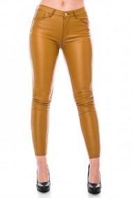 Pantalon din piele ecologica, Jolenttine, mustar