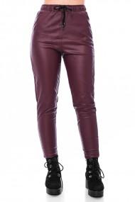 Pantalon cu siret, din piele ecologica, Jolenttine, grena