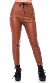 Pantalon cu siret, din piele ecologica, Jolenttine, maro